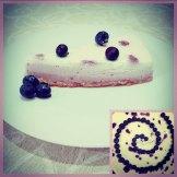 Cheesecake ai mirtilli con 3 tonalità di lilla